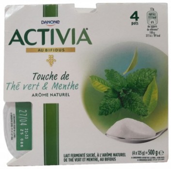 Green Tea and Mint Flavoured Yogurt
