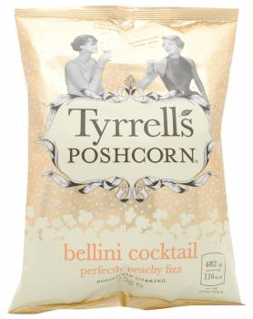 Tyrrell's Poshcorn, Bellini Cocktail Popcorn, UK